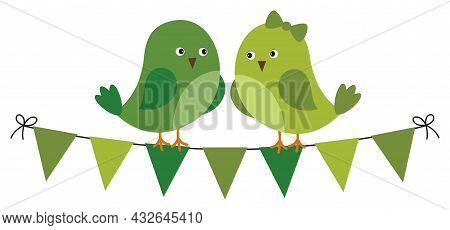 Cute Green Birds Sitting On Bunting Flags. Vector St. Patrick. St. Patricks Birds In Love Vector Ill