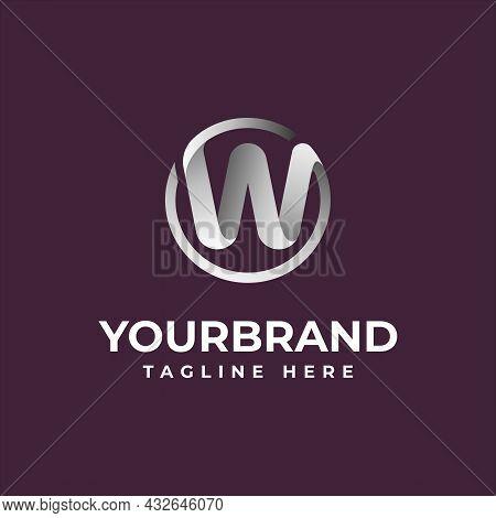 3d Chrome Circle Letter W Logo Design Template