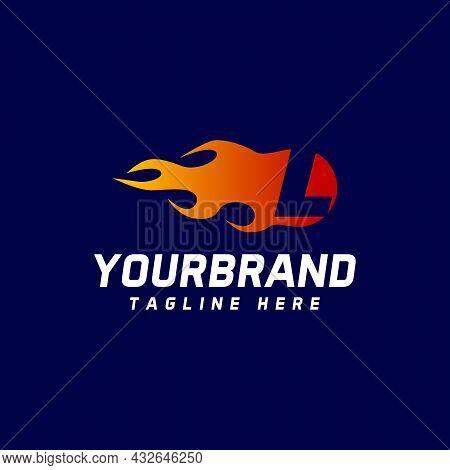 L Letter Logo, Fire Flame Logo Design, Modern Design