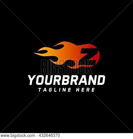 Fire Letter Z Logo Template. Burning Flame Design Element Vector Illustration. Corporate Branding Id