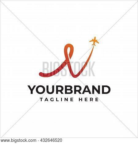 Letter N Travel Logo. Airline Travel Logo Design With Letter N Symbol