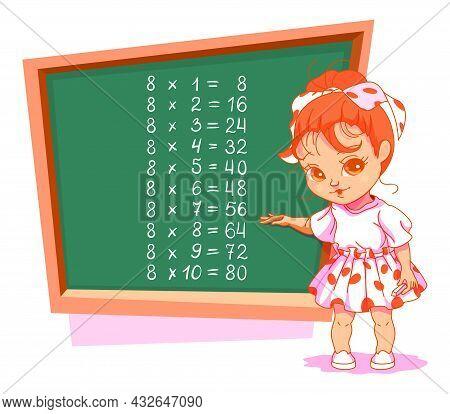 Schoolgirl At Blackboard 8 Eight Multiplication Table Vector Cartoon