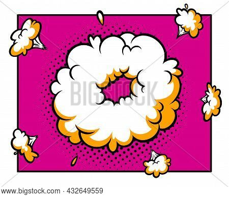 Surprising Boom Cloud In Halftone Background For Sales And Promotions. Banner Template For Surprises
