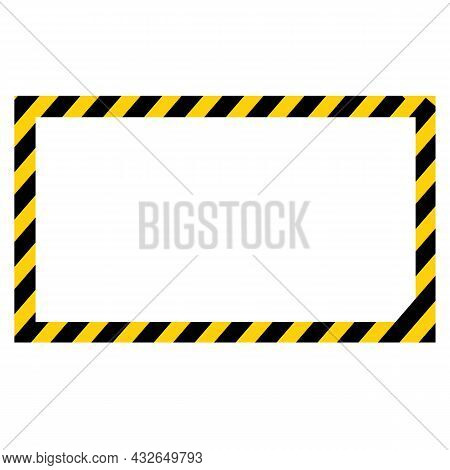 Black And Yellow Warning Line Striped Rectangular Background. Rectangular Warning Sign. Hazard Strip