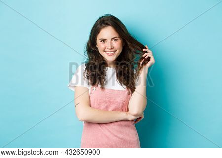 Beautiful Teenage Girl Waiting For Summer, Playing With Curly Hair And Smiling White Teeth, Having C