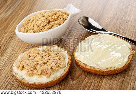 Canned Sterilized Cod Caviar In White Bowl In Fish Shape, Teaspoon, Sandwich With Cod Caviar, Sandwi