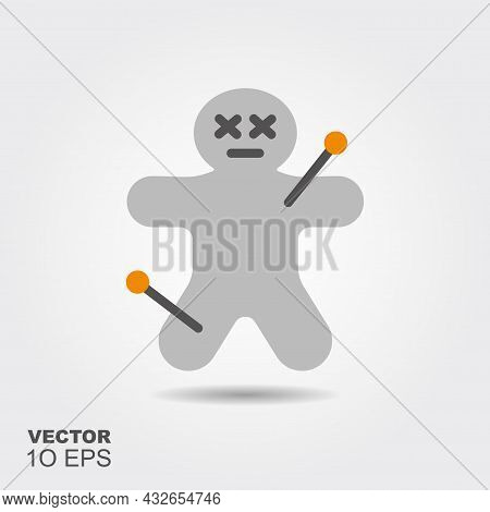 Voodoo Doll. Flat Silhouette Icon With Shadow