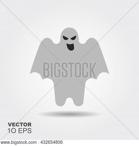 Halloween Ghost. Flat Silhouette Icon With Shadow