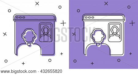 Set Video Chat Conference Icon Isolated On White And Purple Background. Online Meeting Work Form Hom