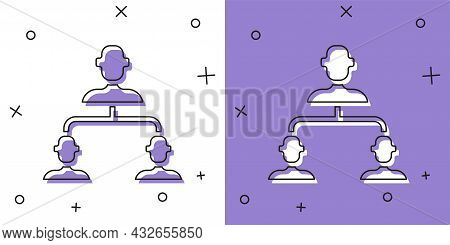 Set Business Hierarchy Organogram Chart Infographics Icon Isolated On White And Purple Background. C
