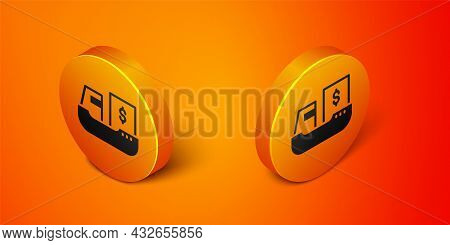 Isometric Cargo Ship With Boxes Delivery Service Icon Isolated On Orange Background. Delivery, Trans