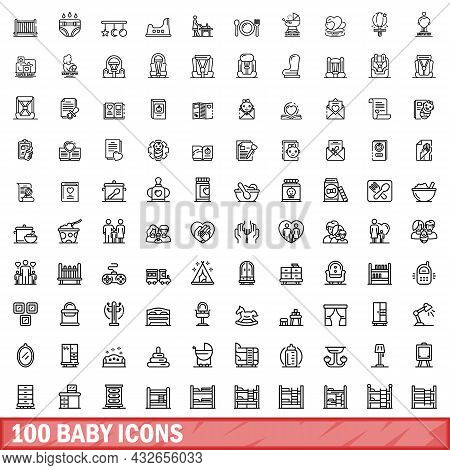 100 Baby Icons Set. Outline Illustration Of 100 Baby Icons Vector Set Isolated On White Background