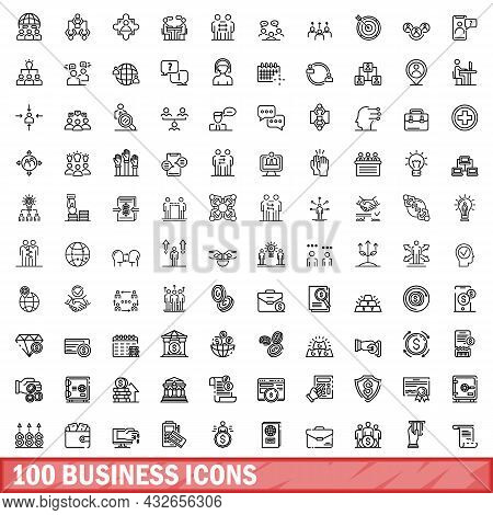 100 Business Icons Set. Outline Illustration Of 100 Business Icons Vector Set Isolated On White Back