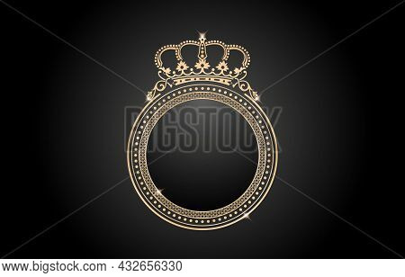 Frame With Crown, Circle Gold Border With Crown Pattern. Ellipse Frame Element With Color Gold Isola