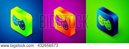 Isometric Comedy And Tragedy Theatrical Masks Icon Isolated On Blue, Purple And Green Background. Sq