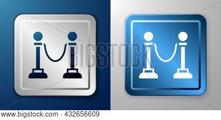 White Rope Barrier Icon Isolated On Blue And Grey Background. Vip Event, Luxury Celebration. Celebri