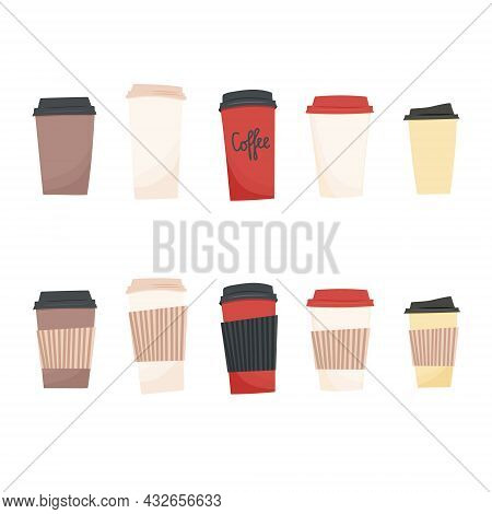 Hand Drawn Sketch Vector Illustration Of Set Of Side View Hold Paper To Go Take Away Coffee Or Tea C