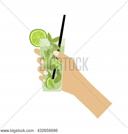 Hand Drawn Vector Illustration Of Mojito Cocktail With Mint Leaves. Isolated On White Background.