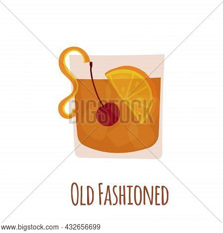 Hand Drawn Vector Illustration Of Old Fashioned Alcoholic Cocktail Drink. Isolated On White Backgrou