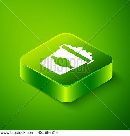 Isometric Popcorn In Cardboard Box Icon Isolated On Green Background. Popcorn Bucket Box. Green Squa