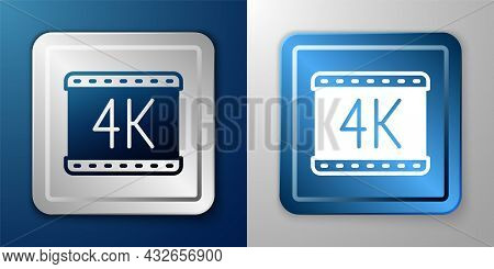 White 4k Movie, Tape, Frame Icon Isolated On Blue And Grey Background. Silver And Blue Square Button
