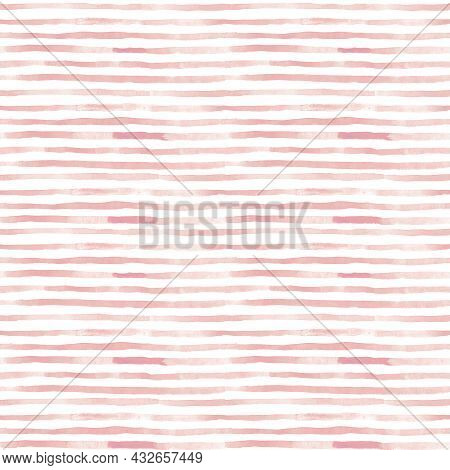 Seamless Pattern With Watercolor Green Brushstroke Stripes For Textile, Card, Product Desing, Backgr