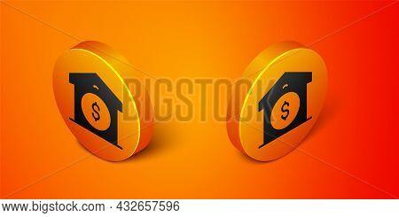 Isometric Warehouse Price Icon Isolated On Orange Background. Orange Circle Button. Vector
