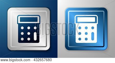 White Calculator Icon Isolated On Blue And Grey Background. Accounting Symbol. Business Calculations