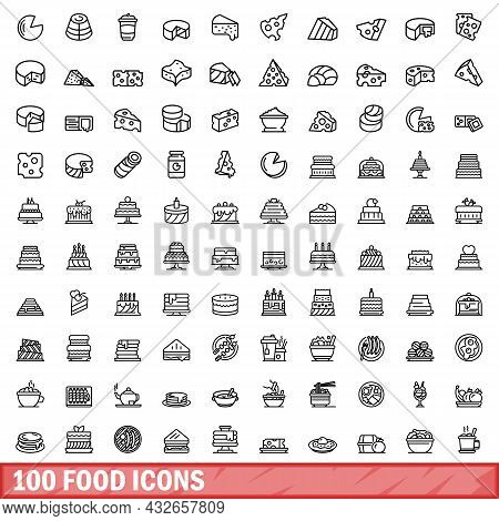 100 Food Icons Set. Outline Illustration Of 100 Food Icons Vector Set Isolated On White Background