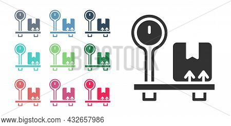 Black Scale With Cardboard Box Icon Isolated On White Background. Logistic And Delivery. Weight Of D