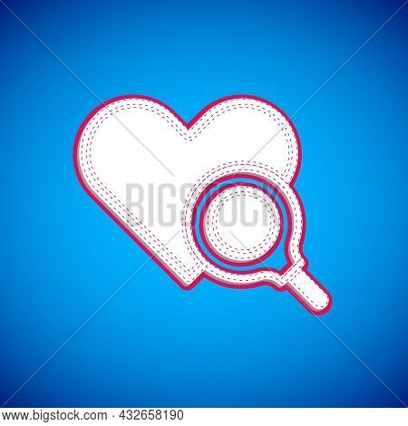 White Medical Heart Inspection Icon Isolated On Blue Background. Heart Magnifier Search. Vector