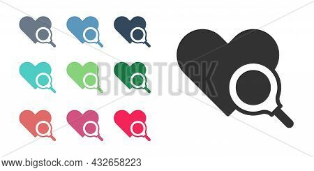 Black Medical Heart Inspection Icon Isolated On White Background. Heart Magnifier Search. Set Icons