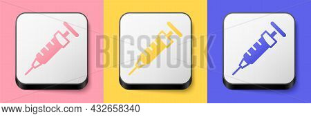 Isometric Syringe Icon Isolated On Pink, Yellow And Blue Background. Syringe For Vaccine, Vaccinatio