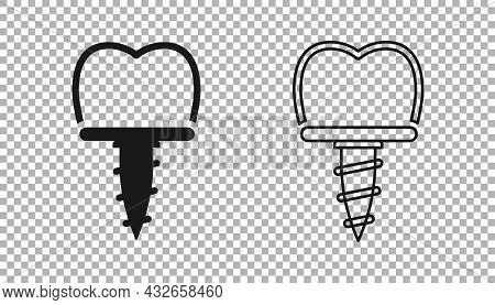 Black Dental Implant Icon Isolated On Transparent Background. Vector