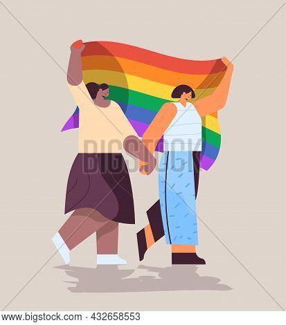 Mix Race Girls Holding Lgbt Rainbow Flag Gay Lesbian Love Parade Pride Festival Transgender Love Con