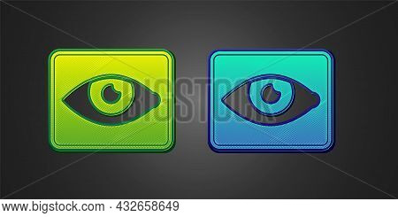 Green And Blue Red Eye Effect Icon Isolated On Black Background. Eye Redness Sign. Inflammatory Dise