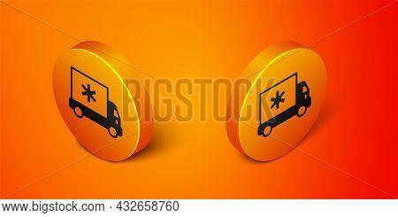Isometric Ambulance And Emergency Car Icon Isolated On Orange Background. Ambulance Vehicle Medical