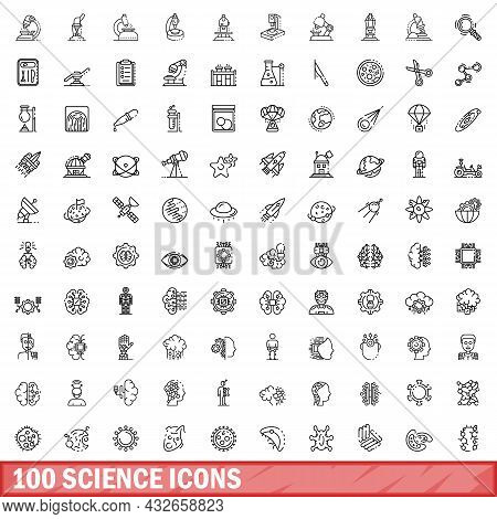 100 Science Icons Set. Outline Illustration Of 100 Science Icons Vector Set Isolated On White Backgr