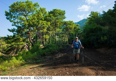 Hiking on Lycian way trail route from Karaoz to Adrasan. Man is trekking on dirt road in coniferous forest of Mediterranean region, Eco tourism in Turkey