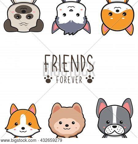 Cute Dog Friends Forever Card Doodle Cartoon Illustration Design Flat Cartoon Style