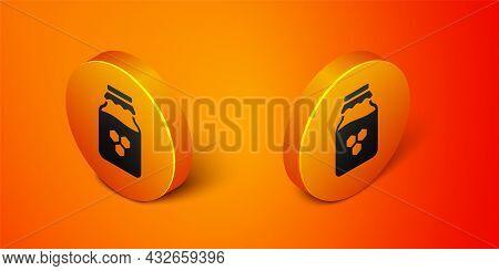 Isometric Jar Of Honey Icon Isolated On Orange Background. Food Bank. Sweet Natural Food Symbol. Ora
