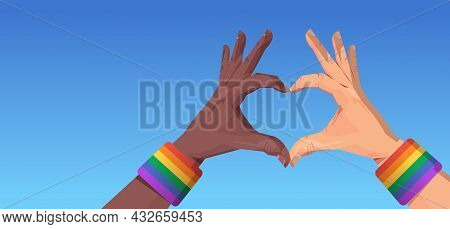 Mix Race Human Hands Gesture In Heart Shape Lgbt Rainbow Flag Gay Lesbian Love Parade Pride Festival