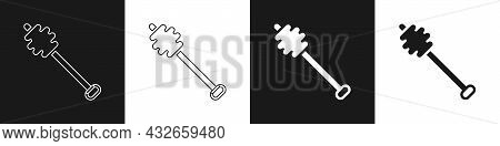 Set Honey Dipper Stick Icon Isolated On Black And White Background. Honey Ladle. Vector