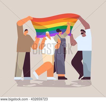 Mix Race People Group Holding Lgbt Rainbow Flag Gay Lesbian Love Parade Pride Festival Transgender L