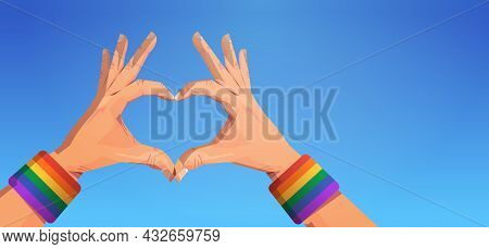 Human Hands Gesture In Heart Shape Lgbt Rainbow Flag Gay Lesbian Love Parade Pride Festival Transgen