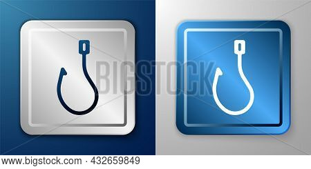 White Fishing Hook Icon Isolated On Blue And Grey Background. Fishing Tackle. Silver And Blue Square