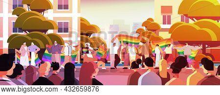 Mix Race Senior People Group Holding Lgbt Rainbow Flag Gay Lesbian Love Parade Pride Festival Transg