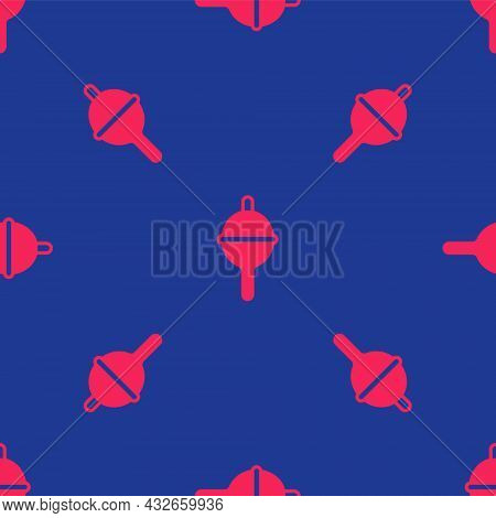 Red Fishing Float Icon Isolated Seamless Pattern On Blue Background. Fishing Tackle. Vector