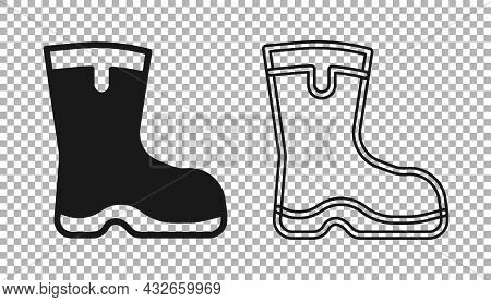 Black Fishing Boots Icon Isolated On Transparent Background. Waterproof Rubber Boot. Gumboots For Ra