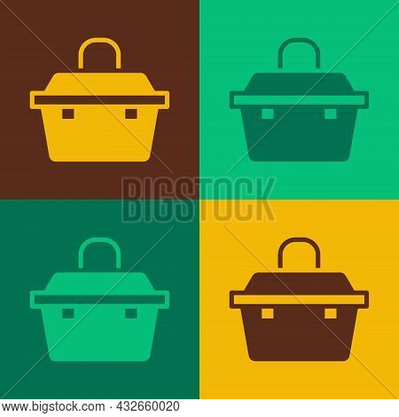 Pop Art Case Or Box Container For Wobbler And Gear Fishing Equipment Icon Isolated On Color Backgrou